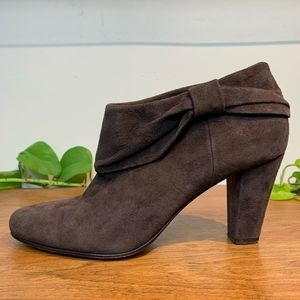 Kate Spade Bison Bow Brown Suede Ankle Booties